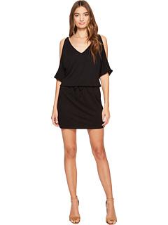 コールド ショルダー ブイネック ドレス ワンピース 黒 ブラック レディース 女性用 レディースファッション 【 BLACK LANSTON COLD SHOULDER VNECK DRESS 】