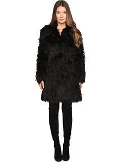 ジェレミー スコット ロング コート 黒 ブラック レディース 女性用 レディースファッション ジャケット アウター 【 BLACK JEREMY SCOTT FAUX MONGOLIA LONG COAT 】