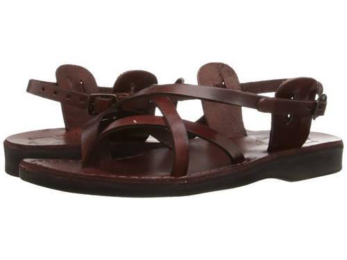 サンダル バックル レディース 女性用 茶 ブラウン レディース靴 【 JERUSALEM SANDALS TAMAR BUCKLE BROWN 】
