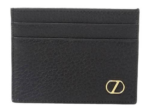 グレイン カード ケース 黒 ブラック メンズ 男性用 財布 【 BLACK Z ZEGNA GRAINED CALFSKIN CARD CASE 】