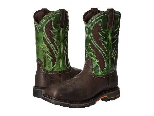 ブルーイン 緑 グリーン メンズ 男性用 靴 ブーツ 【 GREEN ARIAT WORKHOG WST VENTTEK CT BRUIN BROWN GRASS 】