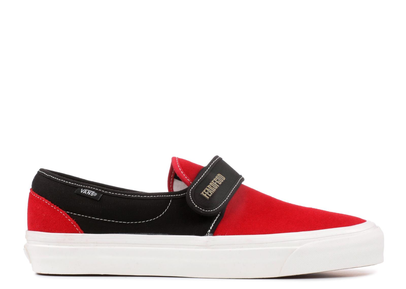 バンズ スリッポン デラックス フェア ゴッド メンズ 男性用 靴 スニーカー メンズ靴 【 VANS SLIPON 47 V DX FEAR OF GOD RED BLACK SUEDE 】