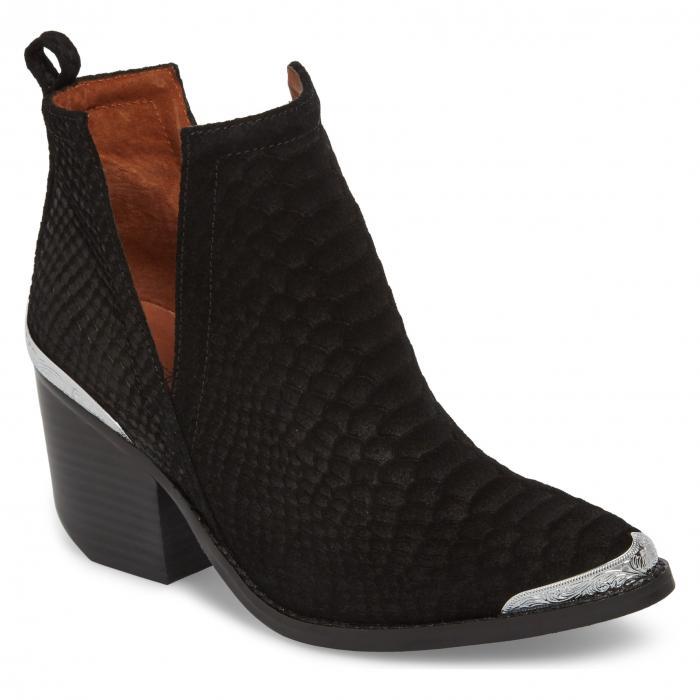 ジェフリー キャンベル ウェスタン ブーツ 黒 ブラック スネーク シューズ レディース靴 靴 【 BLACK JEFFREY CAMPBELL CROMWELL CUTOUT WESTERN BOOT SUEDE SNAKE 】