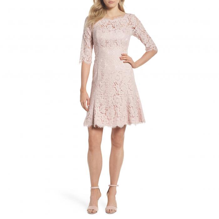 エリザ レース フィット フレアー ドレス ワンピース ブラッシュ & レディースファッション 【 ELIZA J LACE FIT FLARE DRESS BLUSH 】