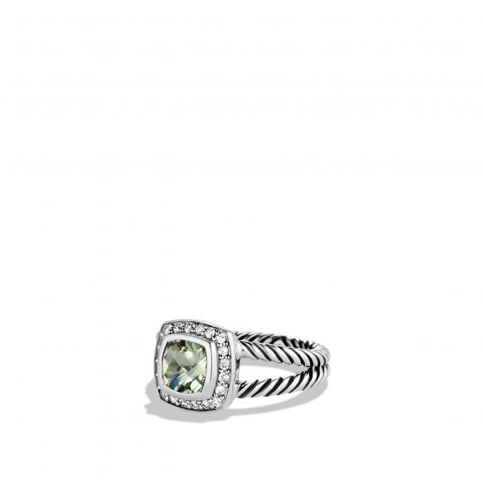 ダビデ 小さいサイズ リング ストーン 'ALBION' & アクセサリー ジュエリー 指輪 レディースジュエリー 【 DAVID YURMAN PETITE RING WITH SEMIPRECIOUS STONE DIAMONDS PRASIOLITE 】