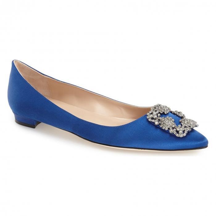 フラット 青 ブルー サテン シューズ 靴 カジュアルシューズ レディース靴 【 BLUE MANOLO BLAHNIK HANGISI FLAT SATIN 】