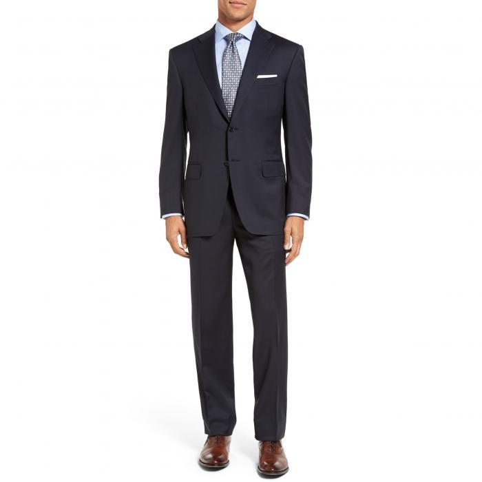 クラシック フィット ソリッド ウール スーツ 紺 ネイビー メンズファッション 【 SOLID NAVY CANALI CLASSIC FIT WOOL SUIT 】