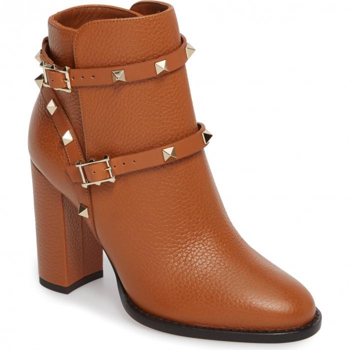 ブロック ヒール ライト 'ROCKSTUD' シューズ レディース靴 ブーツ 靴 【 VALENTINO GARAVANI BLOCK HEEL BOOTIE LIGHT CUIR 】