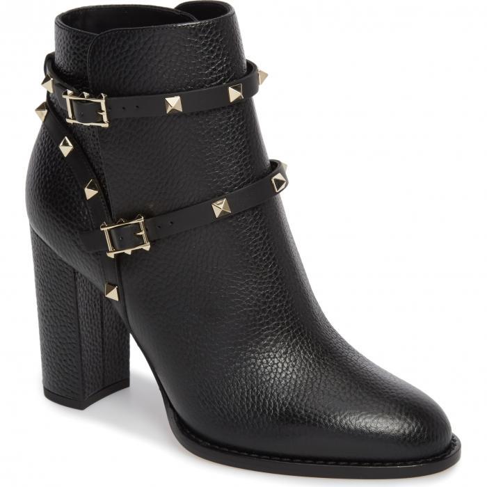 ブロック ヒール 黒 ブラック 'ROCKSTUD' シューズ ブーツ レディース靴 靴 【 BLACK VALENTINO GARAVANI BLOCK HEEL BOOTIE 】