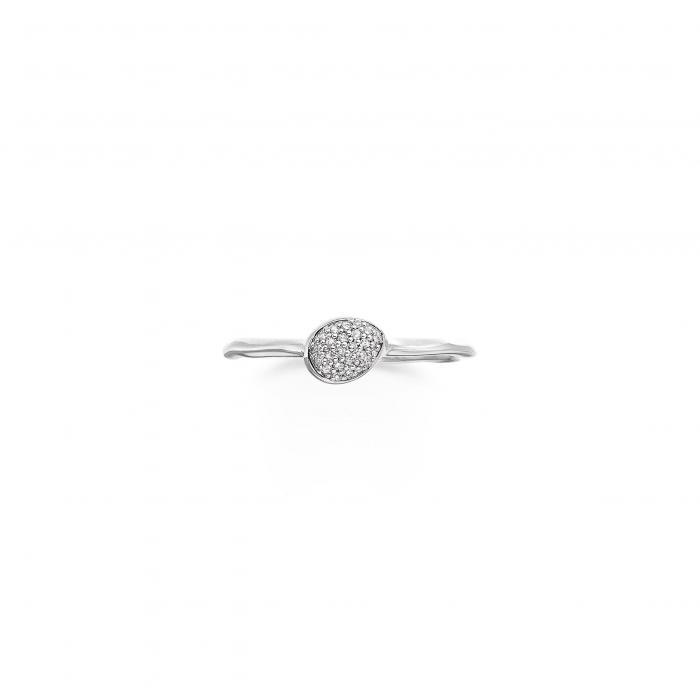 モニカ サイレン スモール ダイヤモンド スタッキング リング PAV アクセサリー ジュエリー レディースジュエリー 指輪 【 MONICA VINADER SIREN SMALL DIAMOND STACKING RING SILVER 】