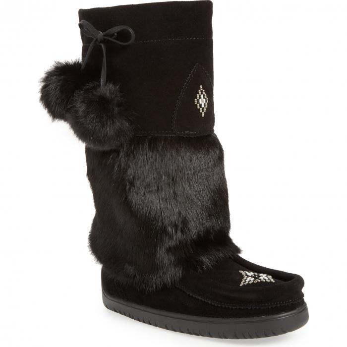 オウル ウォータープルーフ 防水 ブーツ 黒 ブラック ラビット スエード スウェード シューズ 靴 レディース靴 【 BLACK MANITOBAH MUKLUKS SNOWY OWL WATERPROOF GENUINE FUR BOOT RABBIT SUEDE 】