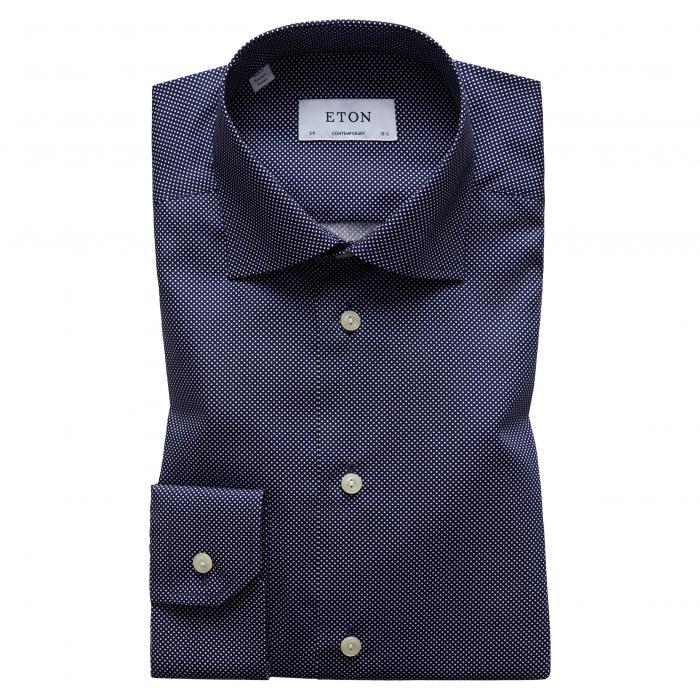 フィット シグネイチャー ポルカ ドット ドレス ワンピース シャツ 青 ブルー トップス 長袖 メンズファッション ワイシャツ 【 BLUE ETON CONTEMPORARY FIT SIGNATURE POLKA DOT DRESS SHIRT 】
