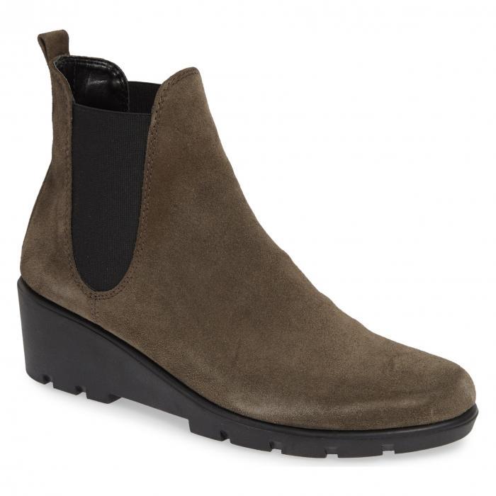 チェルシー ウェッジ ブーツ 茶 ブラウン スエード スウェード シューズ 靴 レディース靴 【 THE FLEXX SLIMMER CHELSEA WEDGE BOOT BROWN SUEDE 】