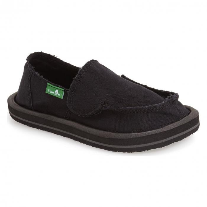 サヌーク サンダル スリッポン 黒 ブラック 'DONNY & DONNA' シューズ マタニティ キッズ ベビー 靴 スニーカー 【 SANUK SLIPON BLACK 】