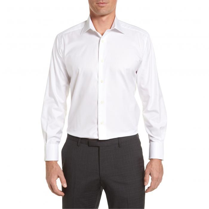 ダビデ レギュラー フィット ソリッド ドレス ワンピース シャツ 白 ホワイト トップス 長袖 ワイシャツ メンズファッション 【 SOLID DAVID DONAHUE REGULAR FIT DRESS SHIRT WHITE 】