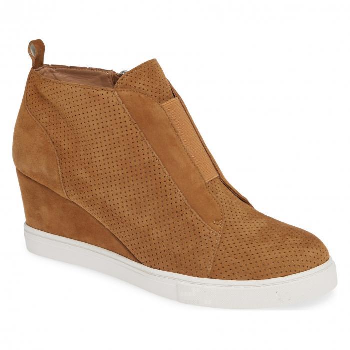 ウェッジ スエード スウェード 'FELICIA' シューズ レディース靴 靴 ブーツ 【 LINEA PAOLO WEDGE BOOTIE TOFFEE SUEDE 】