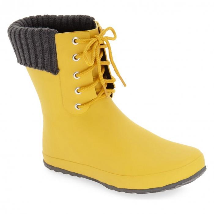 レースアップ レイン ブーツ バター 黄色 イエロー D V シューズ 靴 レディース靴 【 YELLOW LACEUP WEATHERPROOF RAIN BOOT BUTTER 】
