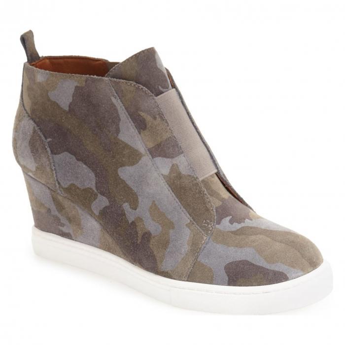 ウェッジ カモ プリント スエード スウェード 'FELICIA' シューズ レディース靴 靴 ブーツ 【 LINEA PAOLO WEDGE BOOTIE CAMO PRINT SUEDE 】