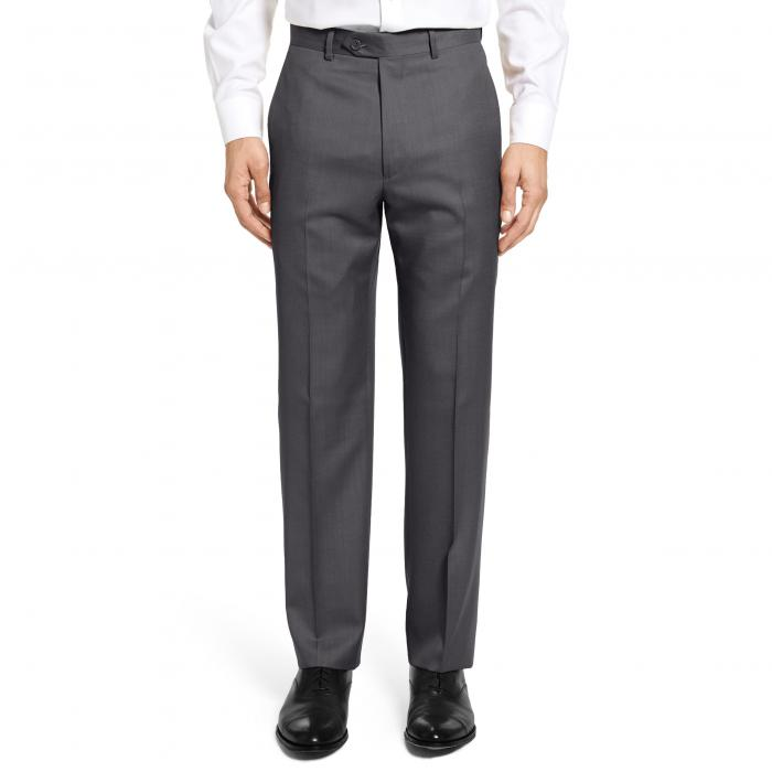 フラット フロント ツイル ウール パンツ チャコール ズボン メンズファッション 【 SANTORELLI FLAT FRONT TWILL WOOL TROUSERS CHARCOAL 】