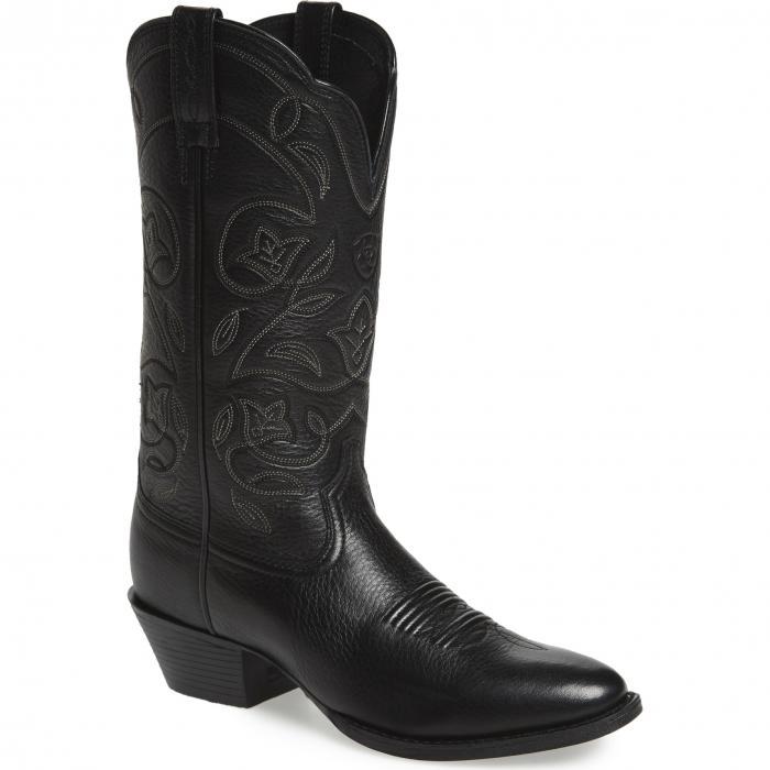 ヘリテージ ウェスタン ブーツ 黒 ブラック レザー シューズ 靴 レディース靴 【 BLACK ARIAT HERITAGE WESTERN RTOE BOOT LEATHER 】