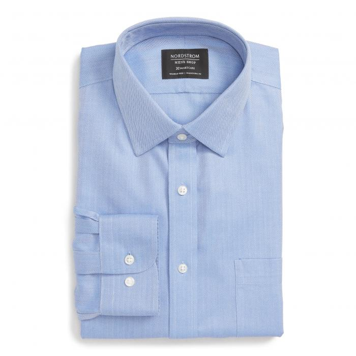 ショップ トラディショナル フィット ヘリンボーン ドレス ワンピース シャツ 青 ブルー マリン MEN'S SMARTCARE < SUP> トップス 長袖 メンズファッション ワイシャツ 【 BLUE NORDSTROM SHOP TRADITIO