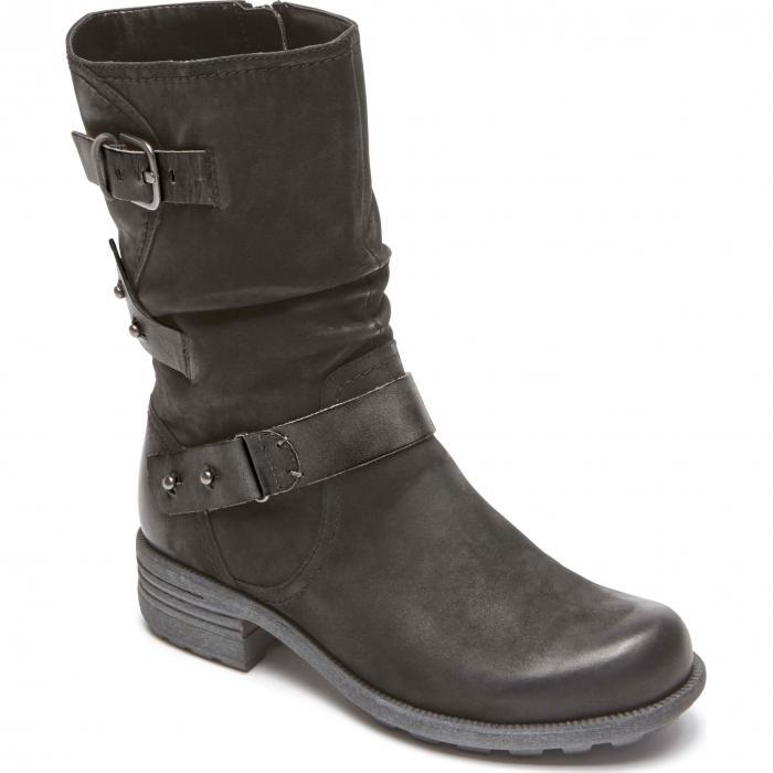 ヒル ブランズウィック ブーツ 黒 ブラック レザー シューズ 靴 レディース靴 【 BLACK ROCKPORT COBB HILL BRUNSWICK BOOT LEATHER 】