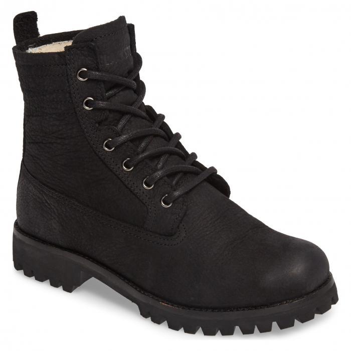 ブラックストーン レースアップ ブーツ ムートン リーニン 黒 ブラック レザー シューズ 靴 レディース靴 【 BLACK BLACKSTONE OL22 LACEUP BOOT WITH GENUINE SHEARLING LINING LEATHER 】
