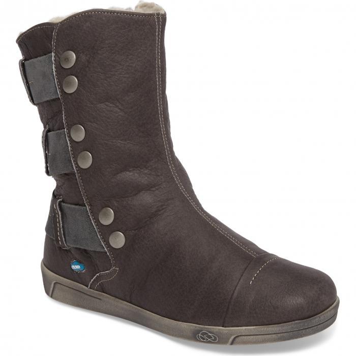 クラウド アンバー ウール GRAY灰色 グレイ レザー シューズ レディース靴 ブーツ 靴 【 GREY CLOUD AMBER WOOL LINED BOOTIE LEATHER 】
