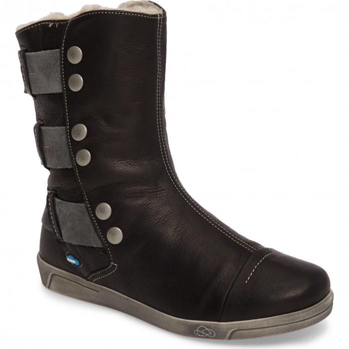 クラウド アンバー ウール 黒 ブラック レザー シューズ レディース靴 ブーツ 靴 【 BLACK CLOUD AMBER WOOL LINED BOOTIE LEATHER 】