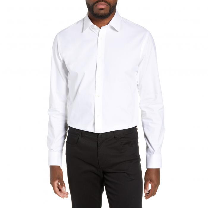 ショップ フィット ストレッチ ドレス ワンピース シャツ 白 ホワイト MEN'S トップス 長袖 ワイシャツ メンズファッション 【 NORDSTROM SHOP TECHSMART TRIM FIT STRETCH PINPOINT DRESS SHIRT WHITE 】