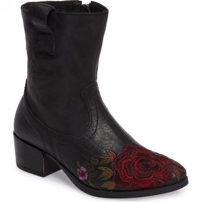 フローラル 黒 ブラック レザー シューズ ブーツ 靴 レディース靴 【 BLACK SHERIDAN MIA SHALLOT FLORAL EMBROIDERED BOOTIE LEATHER 】