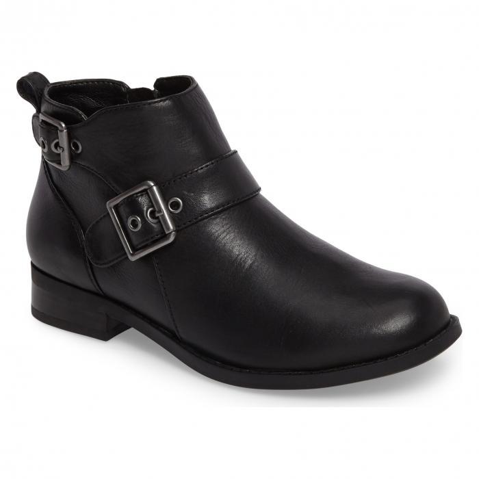 黒 ブラック レザー シューズ 靴 ブーツ レディース靴 【 BLACK VIONIC LOGAN BOOTIE LEATHER 】