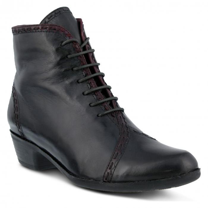 スプリング ステップ レースアップ 灰色 グレー グレイ レザー シューズ ブーツ レディース靴 靴 【 SPRING GRAY STEP JARU LACEUP BOOTIE LEATHER 】