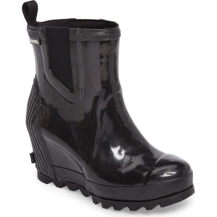グロッシー ウェッジ ウォータープルーフ 防水 レイン ブーツ ブラック 黒 シー ソルト シューズ 靴 レディース靴 【 SOREL JOAN GLOSSY WEDGE WATERPROOF RAIN BOOT BLACK SEA SALT 】