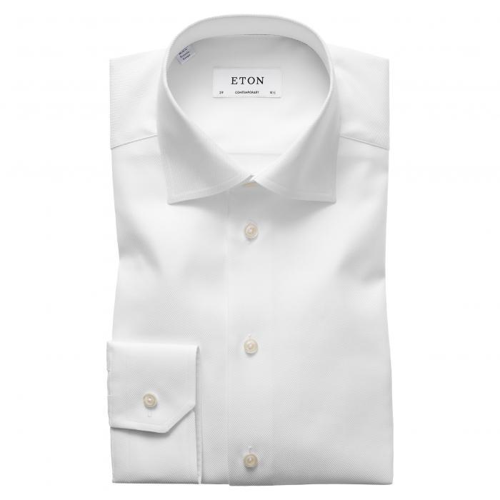 フィット ツイル ドレス ワンピース シャツ 白 ホワイト トップス 長袖 ワイシャツ メンズファッション 【 ETON CONTEMPORARY FIT CAVALRY TWILL DRESS SHIRT WHITE 】