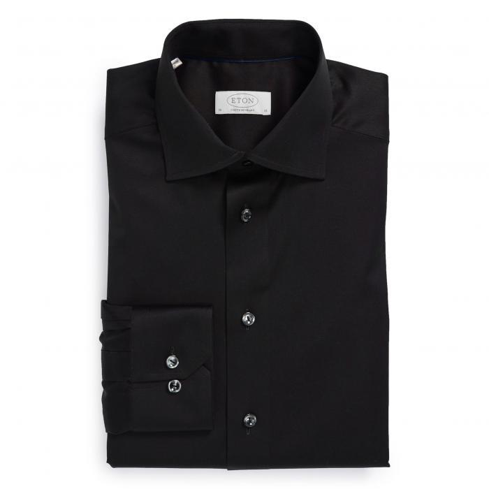 フィット ツイル ドレス ワンピース シャツ 黒 ブラック トップス 長袖 メンズファッション ワイシャツ 【 BLACK ETON CONTEMPORARY FIT TWILL DRESS SHIRT 】