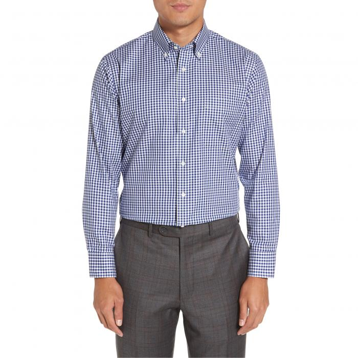 ショップ フィット ギンガム ドレス ワンピース シャツ パトリオット MEN'S トップス 長袖 メンズファッション ワイシャツ 【 NORDSTROM SHOP TRIM FIT NONIRON GINGHAM DRESS SHIRT NAVY PATRIOT 】
