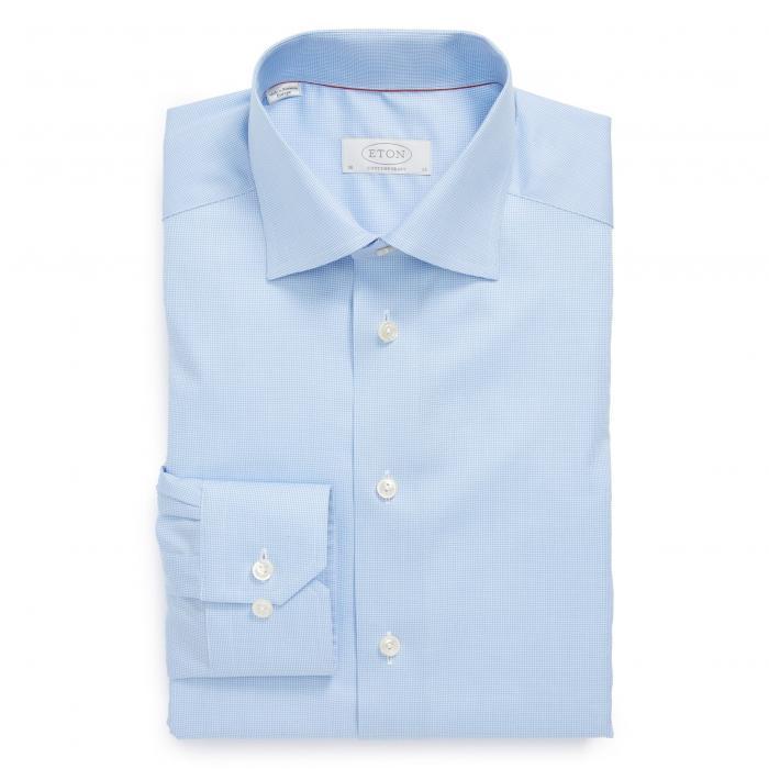 フィット ドレス ワンピース シャツ 青 ブルー トップス 長袖 メンズファッション ワイシャツ 【 BLUE ETON CONTEMPORARY FIT HOUNDSTOOTH DRESS SHIRT 】