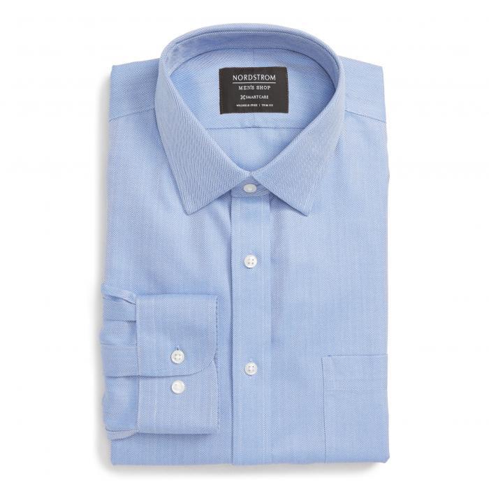 ショップ フィット ヘリンボーン ドレス ワンピース シャツ 青 ブルー マリン MEN'S SMARTCARE < SUP> トップス 長袖 ワイシャツ メンズファッション 【 BLUE NORDSTROM SHOP TRIM FIT HERRINGBONE DRESS SHIRT