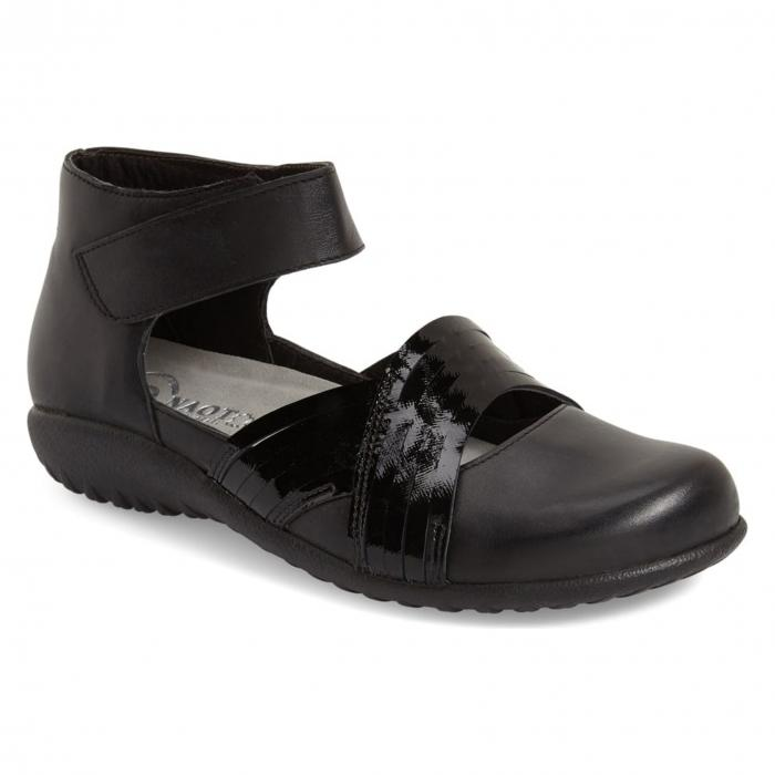 アンクル ストラップ フラット 黒 ブラック レザー 'TENEI' シューズ コンフォートシューズ レディース靴 靴 【 BLACK NAOT ANKLE STRAP FLAT RAVEN LEATHER 】