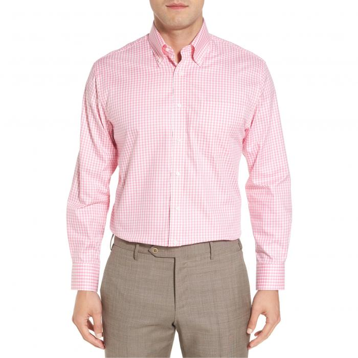 ショップ トラディショナル フィット ギンガム ドレス ワンピース シャツ ピンク オーロラ MEN'S トップス 長袖 メンズファッション ワイシャツ 【 PINK NORDSTROM SHOP TRADITIONAL FIT NONIRON GINGHAM DRESS