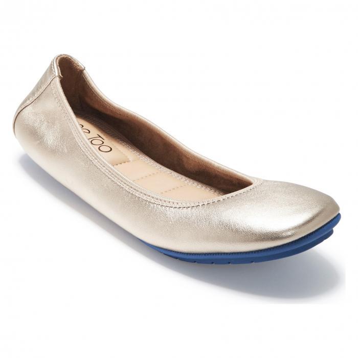 トゥー フラット シャンパン メタリック ファブリック 'TRU BLU' シューズ レディース靴 靴 コンフォートシューズ 【 ME TOO FLAT CHAMPAGNE METALLIC FABRIC 】