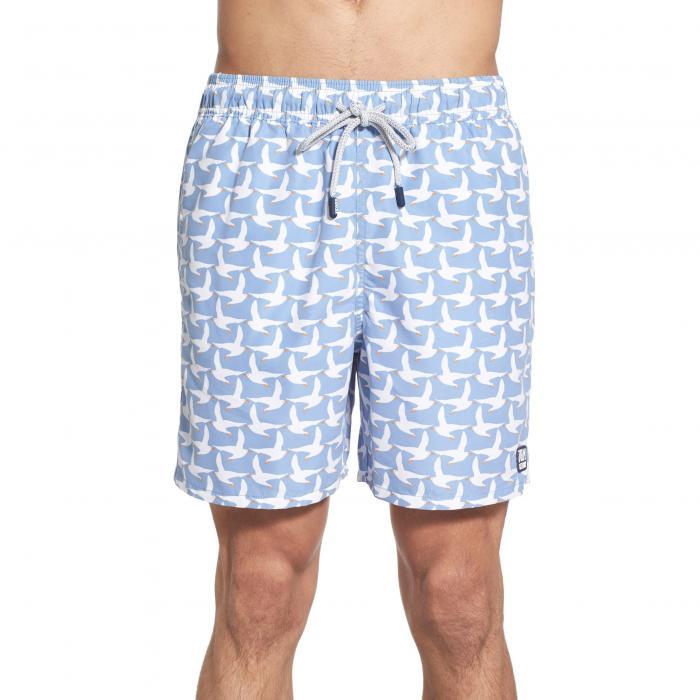 トム テディ プリント スイム トランクス アイス 青 ブルー & メンズファッション 水着 【 BLUE TOM TEDDY SEAGULL PRINT SWIM TRUNKS ICE 】