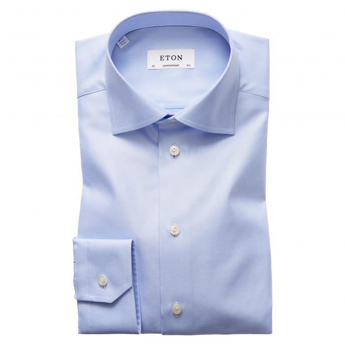フィット ツイル ドレス ワンピース シャツ 青 ブルー トップス 長袖 メンズファッション ワイシャツ 【 BLUE ETON CONTEMPORARY FIT CAVALRY TWILL DRESS SHIRT 】