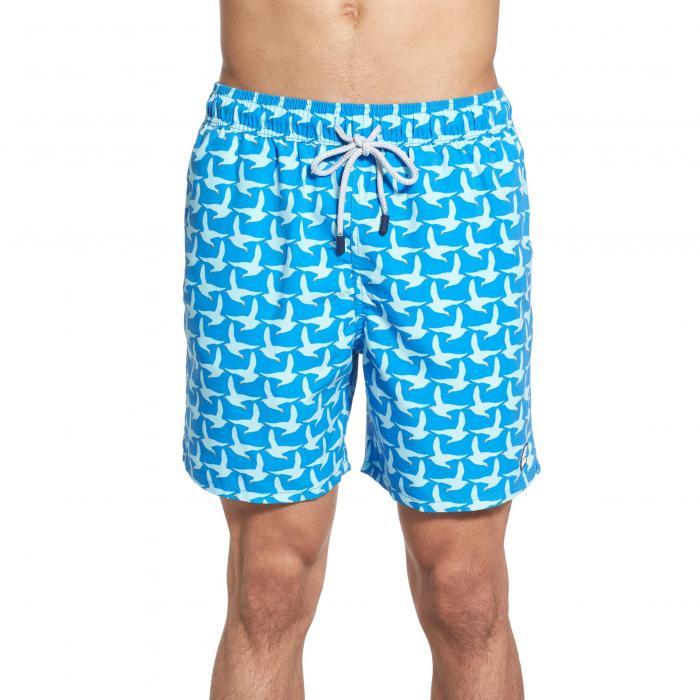 トム テディ プリント スイム トランクス コバルト 青 ブルー & 水着 メンズファッション 【 BLUE TOM TEDDY SEAGULL PRINT SWIM TRUNKS COBALT 】