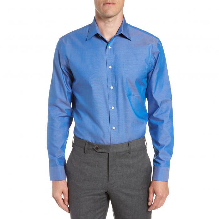 ショップ フィット ソリッド ドレス ワンピース シャツ 青 ブルー フレンチ MEN'S トップス 長袖 ワイシャツ メンズファッション 【 SOLID BLUE NORDSTROM SHOP TRIM FIT NONIRON DRESS SHIRT FRENCH 】