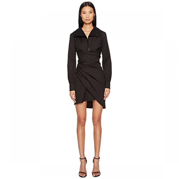 コットン シャツ ドレス ワンピース 黒 ブラック レディース 女性用 レディースファッション 【 BLACK LA PERLA COTTON SHIRT DRESS 】
