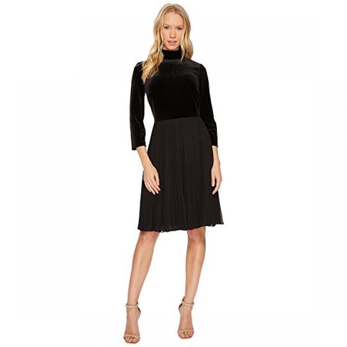 ベルベット ネック フィット フレアー ドレス ワンピース 黒 ブラック レディース 女性用 レディースファッション 【 BLACK ADRIANNA PAPELL VELVET MOCK NECK FIT AND FLARE DRESS 】