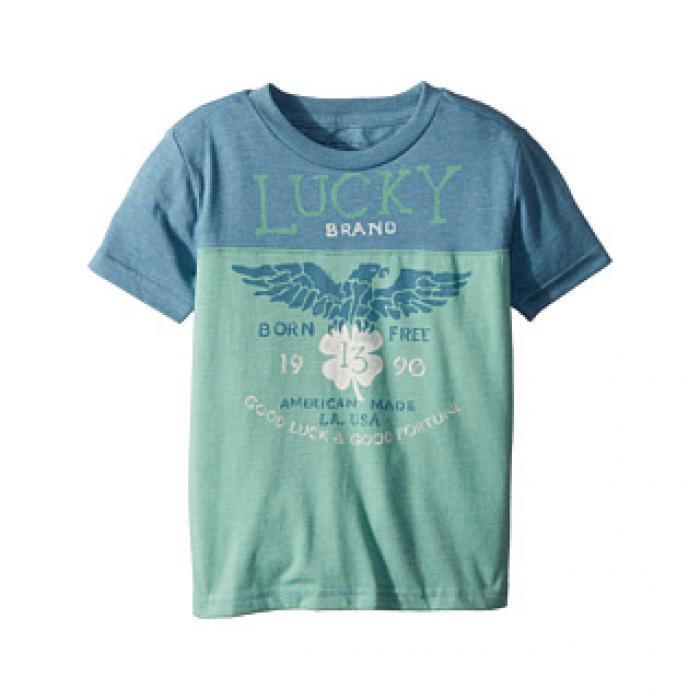 ラッキー ブランド ショーツ ハーフパンツ スリーブ グラフィック Tシャツ ミネラル 青 ブルー ベビー 赤ちゃん用 トップス 【 SLEEVE BLUE LUCKY BRAND KIDS SHORT GRAPHIC TEE TODDLER MINERAL 1 】