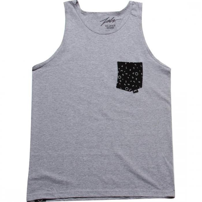 ファン ポケット タンクトップ トップ GRAY灰色 グレイ 黒 ブラック トップス メンズファッション 【 GREY BLACK JSLV FUN POCKET TANK TOP 】
